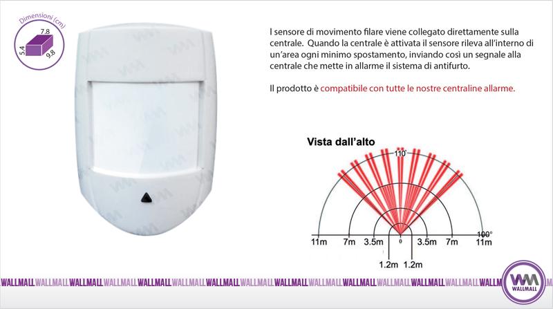 Sensore di movimento PIR volumetrico