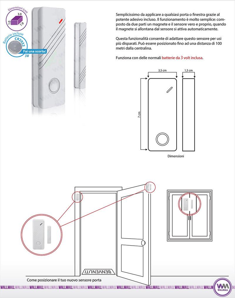Sensore wireless porte e finestre