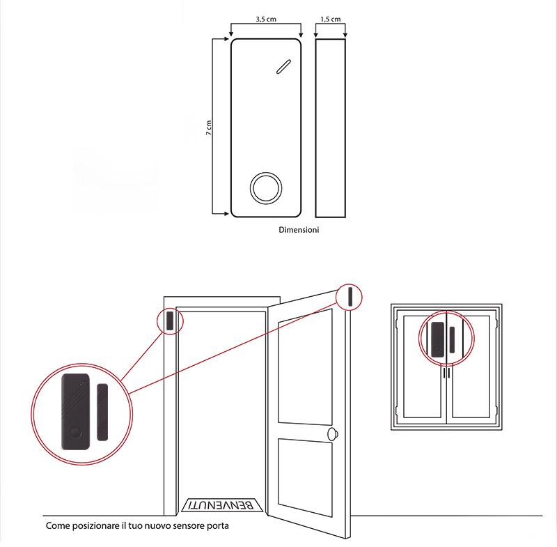 Sensore magnetico porte finestre senza fili wireless marrone antifurto casa gsm sensori - Antifurto porte e finestre ...